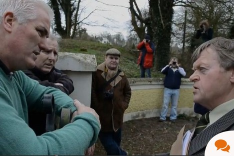 Ben Gilroy of Freedom From All Debt, and Pat Dunne, the deputy sheriff, argue over an eviction outside a home in Laois last week