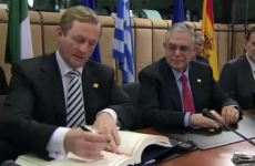Enda Kenny signs Fiscal Compact treaty in Brussels