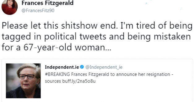 A Tipperary woman also called Frances Fitzgerald is having a tough time on Twitter today