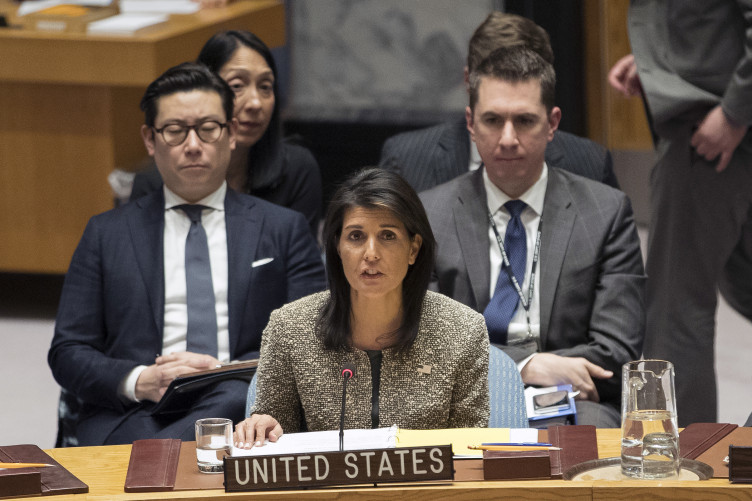 Nikki Haley, US ambassador to the United Nations, speaks during a Security Council meeting on the situation in North Korea