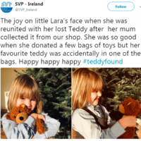 SVP saved the day by launching a plea to find a teddy bear that was accidentally donated to them