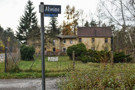 Dilapidated houses along the country road 65 in the small village Alwine