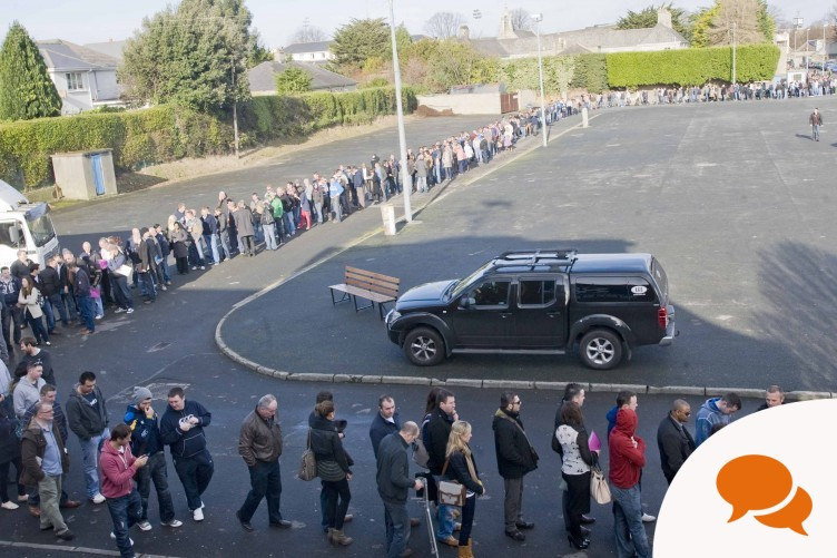 The queue at the Working Abroad Expo at Dublin's RDS on Saturday