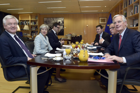 Britain's Secretary of State for Exiting the European Union David Davis, Britain's PM Theresa May, European Commission President Jean-Claude Juncker and EU's chief Brexit negotiator Michel Barnier in Brussels.