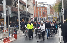 Cyclists hold protest over Luas Cross City signs telling them to dismount and walk