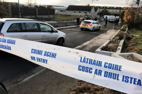 Gardaí at the scene where a teenager and a young child have been injured in a shooting in Mulhuddart in Dublin.