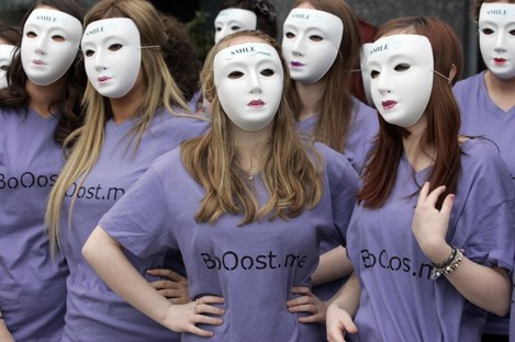 Students from Our Lady's of Mercy College in Beaumont launch their 'Boost.me' campaign today at the Helix in Dublin