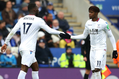 Crystal Palace goalscorers Christian Benteke and Wilfried Zaha.