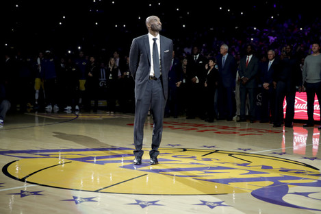 Kobe Bryant's jersey numbers were retired at a ceremony last night.