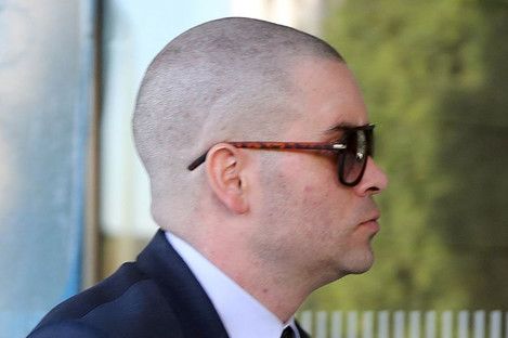 Mark Salling arriving at court yesterday