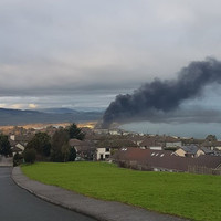 Emergency services at the scene of a fire in Wicklow