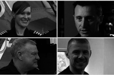 (Clockwise from top left) Captain Dara Fitzpatrick, Captain Mark Duffy, winchman Ciarán Smith and winch operator Paul Ormsby.