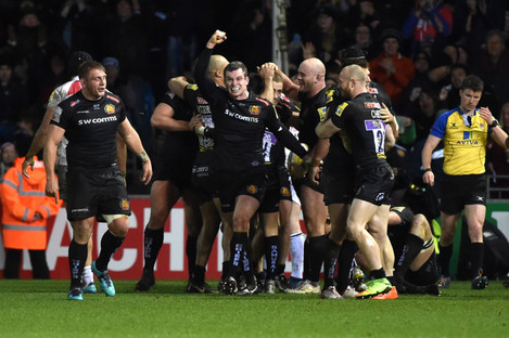 Exeter celebrate their victory over Leicester this afternoon.