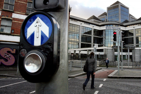 A pedestrian crossing at Ulster Bank.