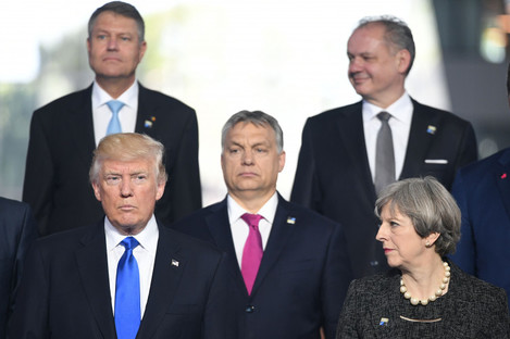 President Donald Trump and Prime Minister Theresa May (front right) during a NATO summit in Brussels last year.