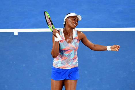 Venus Williams reacts after losing to Belinda Bencic during the first round of the Australian Open.