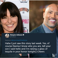 The Rock got back to Davina McCall after she massively fan-girled over him