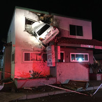 Car flies into first floor of Californian office building