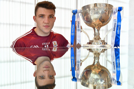 Damien Comer at today's 2018 Allianz football league launch in Croke Park.