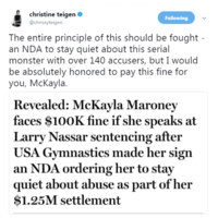 Chrissy Teigen offered to pay Olympic gymnast McKayla Maroney's $100k fine for speaking out against her abuser