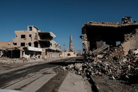 Damaged town of Qaraqosh, Iraq