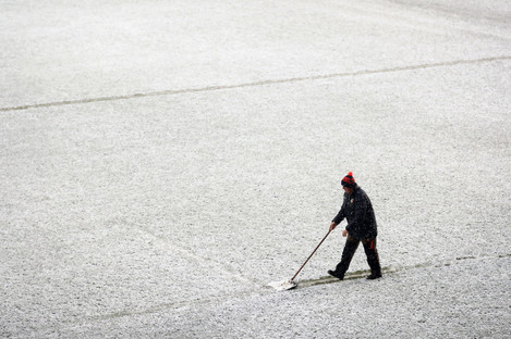 Groundsmen clear the lines before the European Rugby Champions Cup, Pool Four match at Welford Road, Leicester.