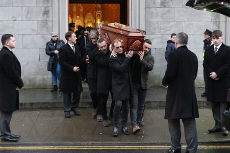 The coffin of Cranberries singer Dolores O'Riordan is removed from St Joseph's Church in Limerick, Ireland, for reposal at Cross' Funeral Home, Ballyneety.