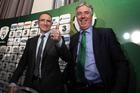 O'Neill (left) is extending his association with John Delaney and the FAI (file photo).