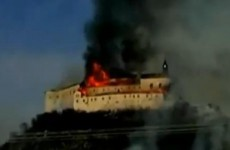 Video: Gothic castle destroyed by fire in Slovakia