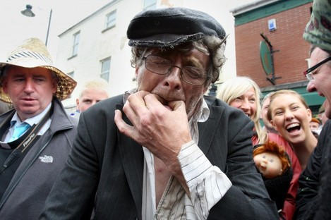 Competitors compete in a wolf whistling competition in Irvinestown Co Fermanagh in 2010