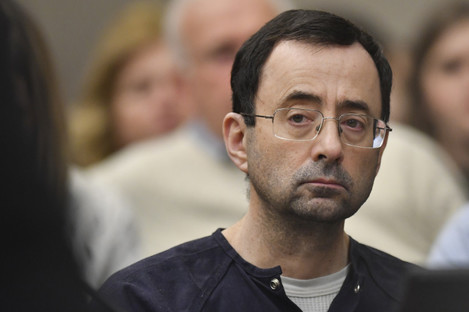Photo of Larry Nassar as the sentence was handed down.