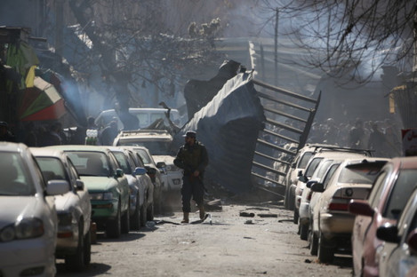 Photo taken on January 27, 2018 shows the blast site near Sidarat Square in Kabul, Afghanistan.