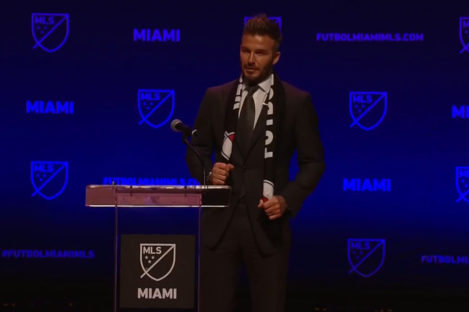 Beckham at today's media conference.