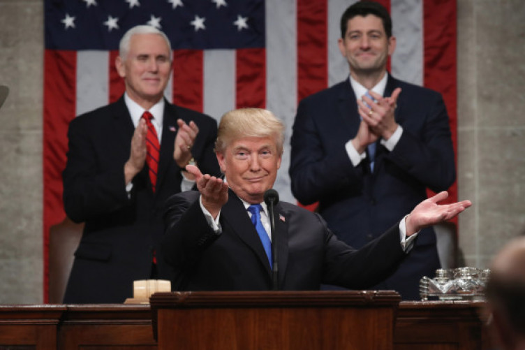 S president Donald J Trump delivers his State of the Union address in the chamber of the US House of Representatives 30 January, 2018 in Washington, DC.