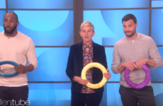 Jamie Dornan played a pretty gas game of Twister with a fan on The Ellen Show