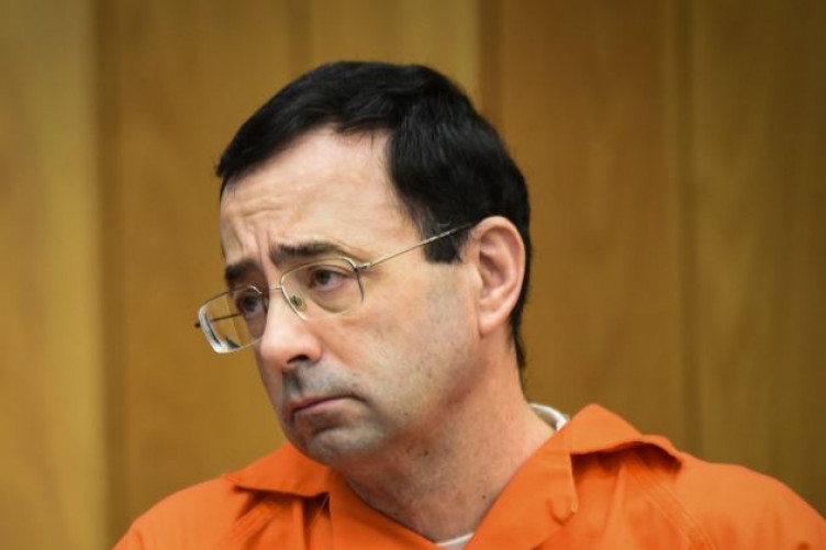 Larry Nassar listening to Jessica Thomashow's victim impact statement today