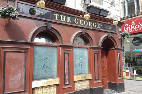 The front of The George after the graffiti was wiped clear