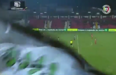 Controversy as huge flag blocks VAR camera, allowing offside goal to stand