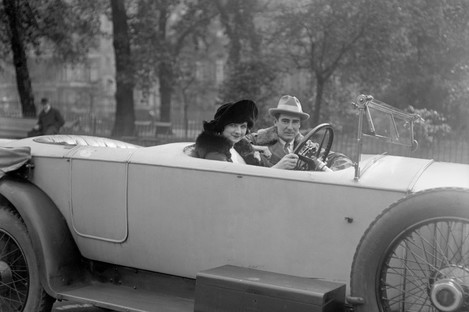Film director Rex Ingram with his wife , actress Alice Terry, as they go for a drive through Hyde Park, London.