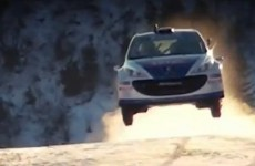 Watch a Peugeot race a skier down a mountain