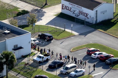 Students being evacuated from the school.
