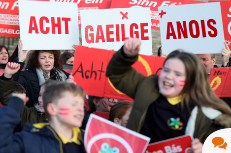 Irish language act campaigners, including pupils from Irish-medium schools across Northern Ireland, take part in a protest at Stormont