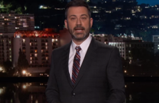 A tearful Jimmy Kimmel opened his show with a heartfelt plea for stricter gun control in the US