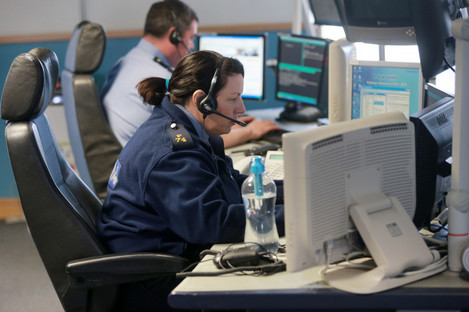 Gardaí in the force's communications centre in Harcourt Street, Dublin.