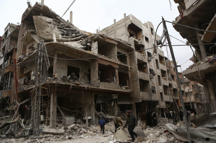 A bombed out building in Ghouta.