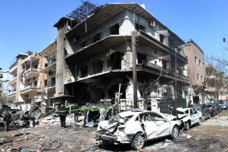 The scene of one of today's explosions in Damascus.