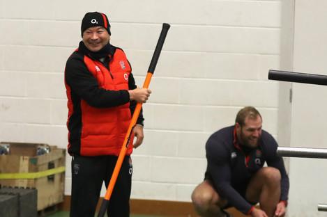 Eddie Jones wielding his new encouragment method at England training today.