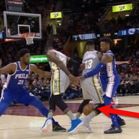 LeBron James pulled off an incredible move through a team-mate's legs last night