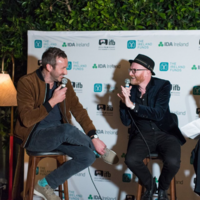 Chris O'Dowd and Cartoon Saloon's Paul Young spoke about their Roscommon childhoods at a pre-Oscars bash