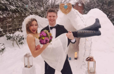 Storm Emma stopped this couple getting to the registry office, so they built a snow chapel instead
